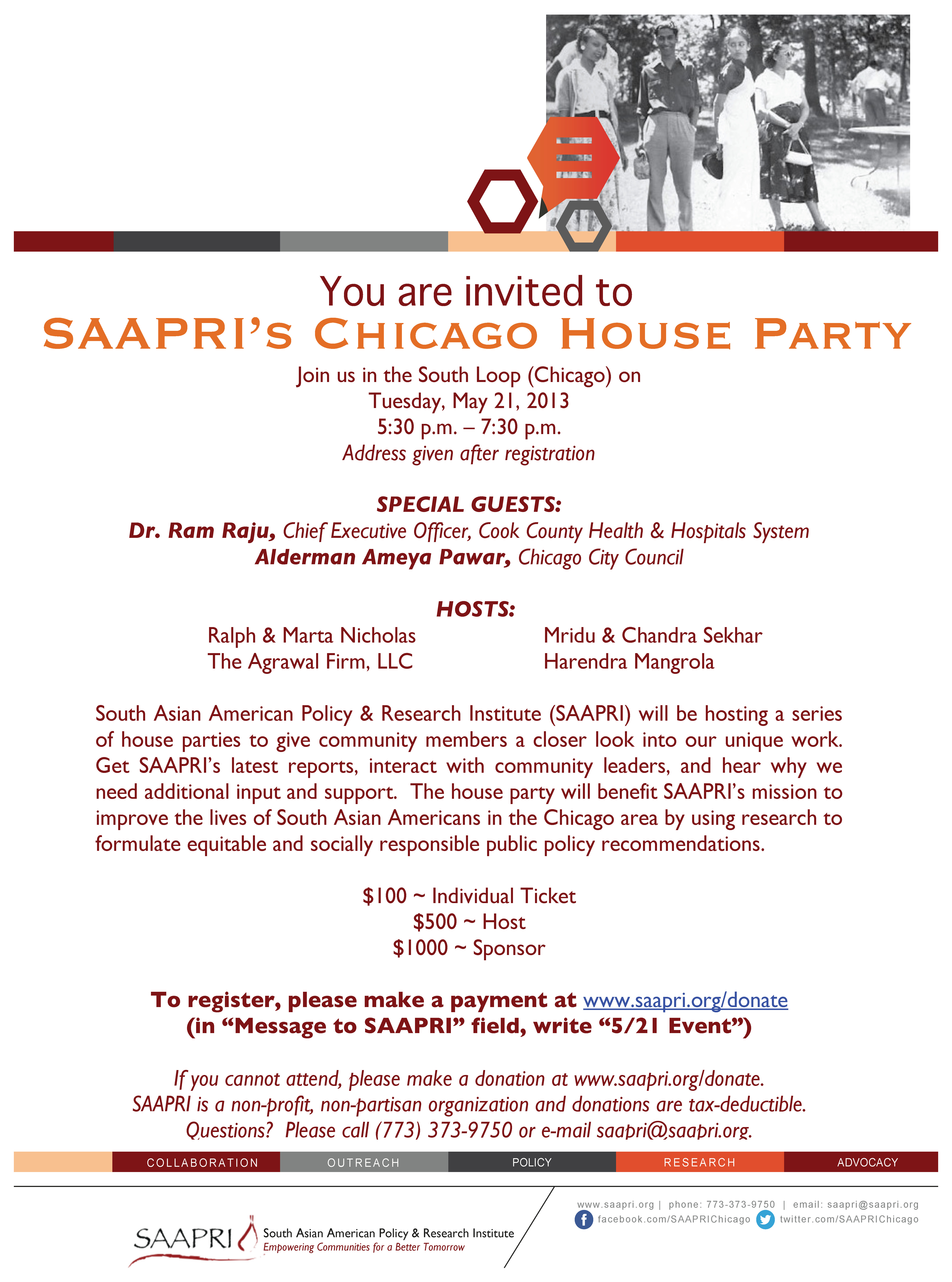 SAAPRI Chicago House Party Invitation