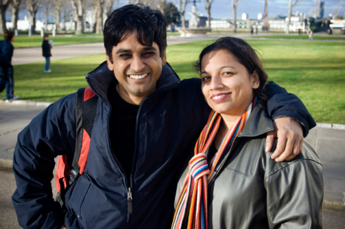 Happy Indian Couple in London